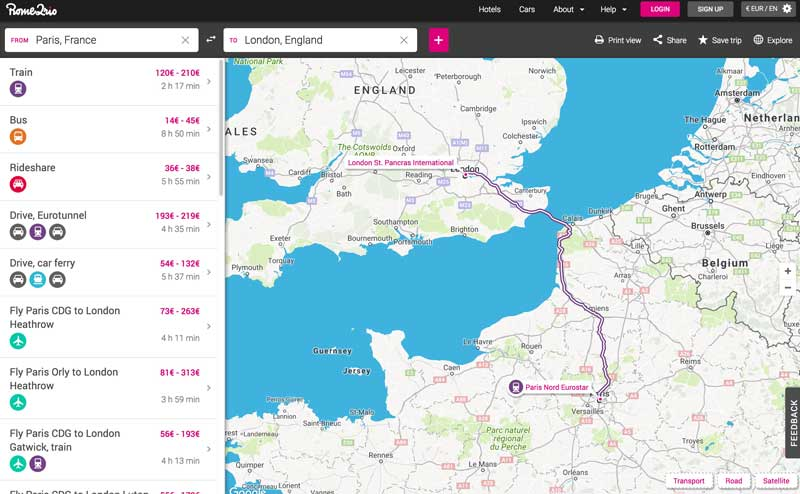 rome2rio travel planner app