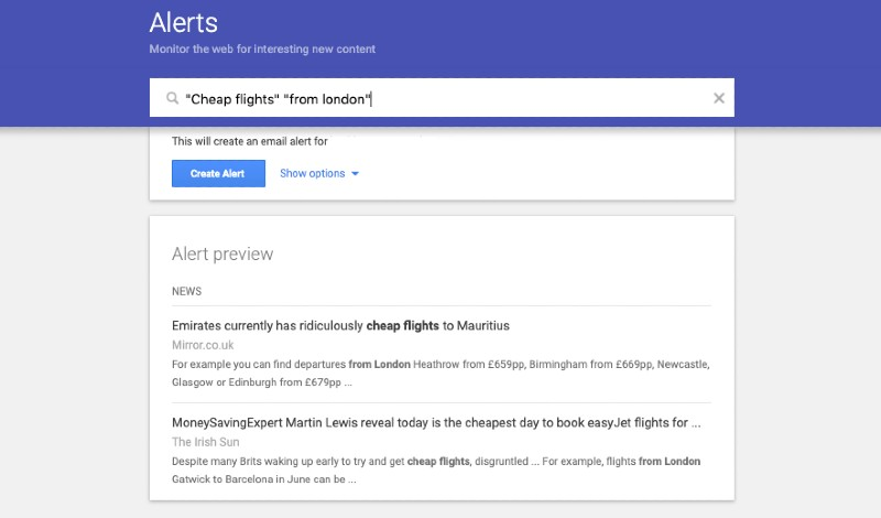 Google Alerts flight search