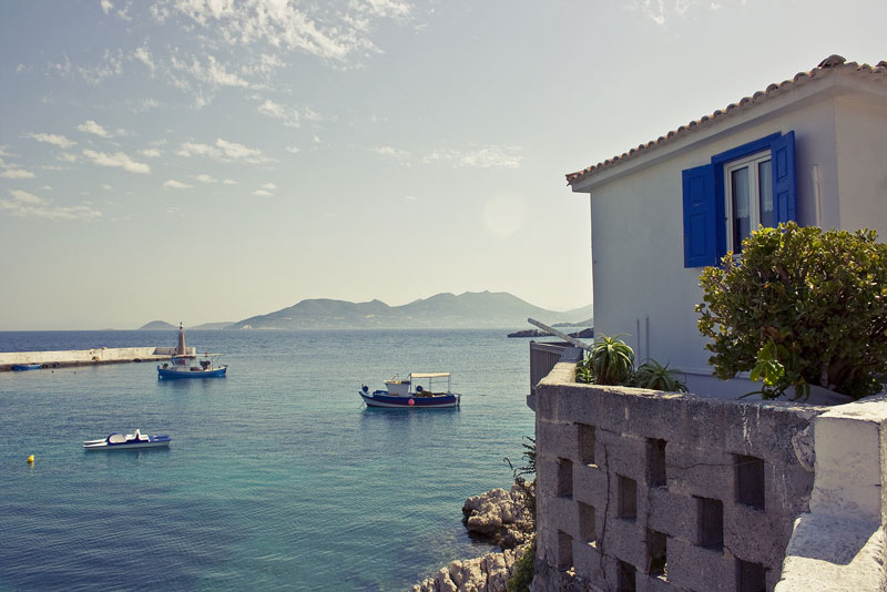 boats and harbour on samos island