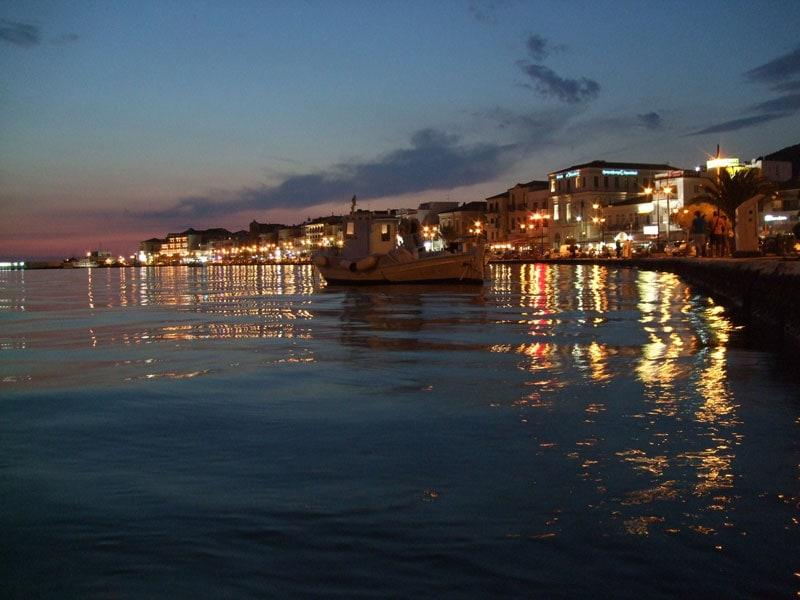 samos greek island at night near kusadasi