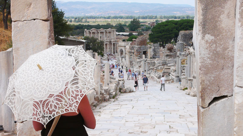 typical photo view of the ruins of ephesus