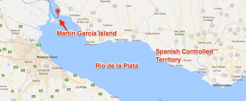 Rio de la plata river in Argentina with Martin Garcia island
