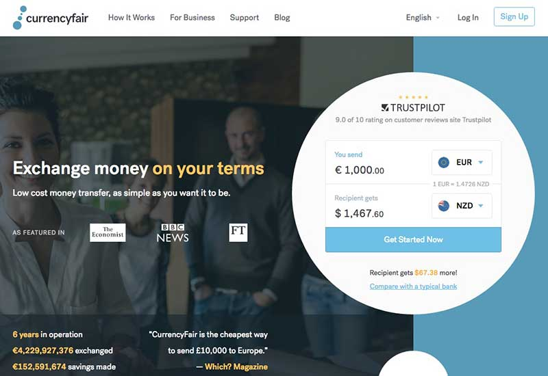 currencyfair online low cost money transfer