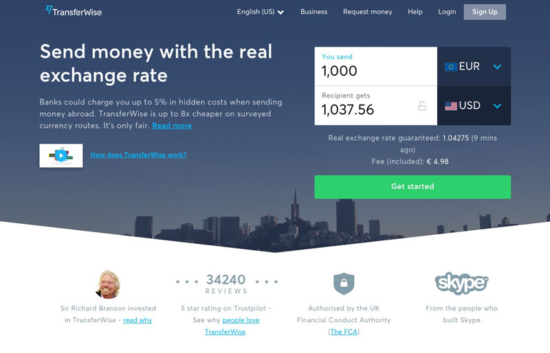 Transferwise money transfer service