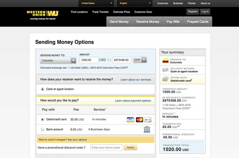 Using Western Union to send money to Colombia