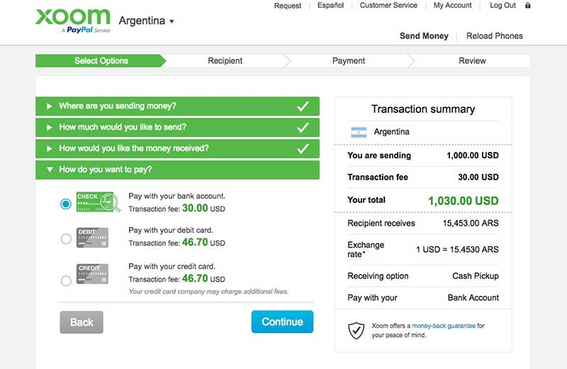 Xoom money transfer service US to Argentina currency transfer