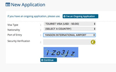 evisa application screen embassy of myanmar website