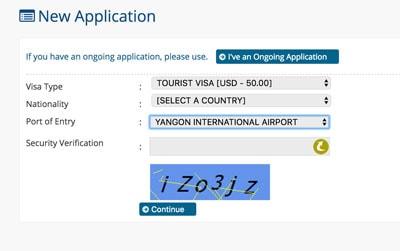 evisa application screen embassy of myanmar website