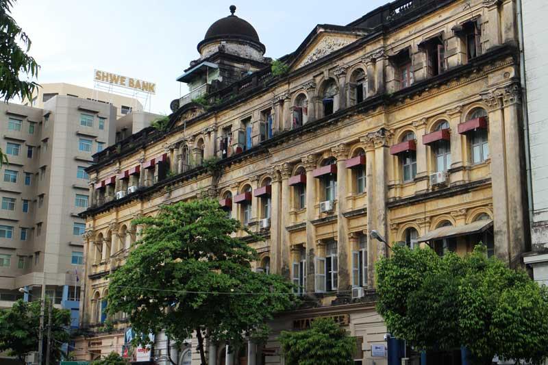 Building on street in Yangon Myanmar
