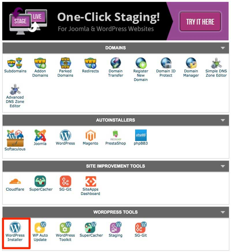 Install WordPress blogging platform in Siteground's control panel