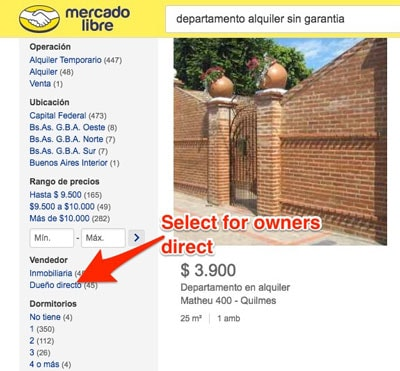 mercadolibre argentina accommodation rental for stays in Buenos Aires and Argentina