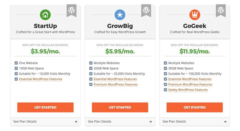 SiteGround hosting options Startup Growbig Gogeek
