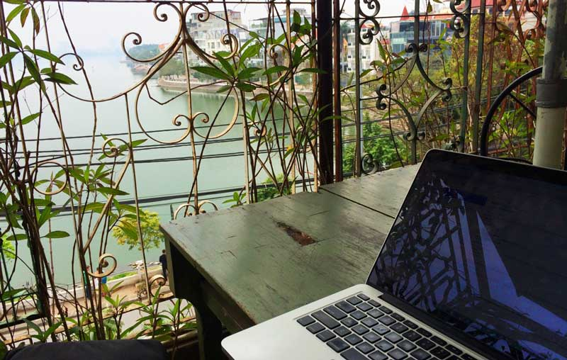 laptop work from cafe in Hanoi Vietnam