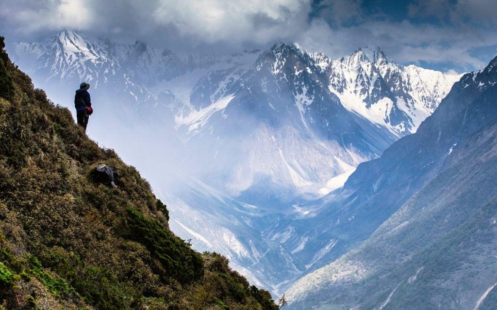 Trekker On Manaslu During Monsoon Treking Season Nepal