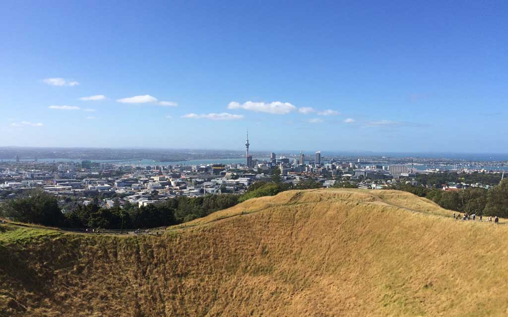 Auckland New Zealand harbour from Mt Eden