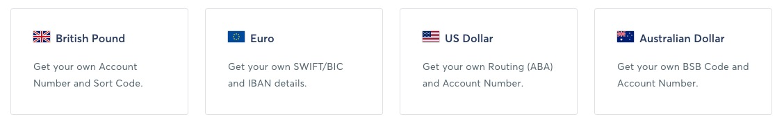 currently supported currencies in transferwise borderless account