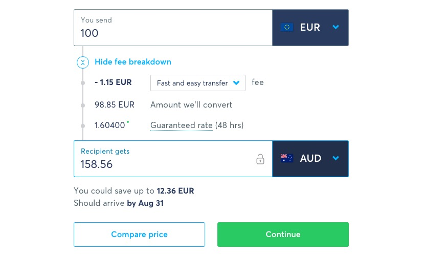 euro to australian dollars conversion rates
