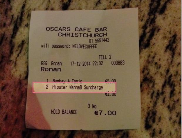 Bill receipt for Hipster wannabe dublin pub