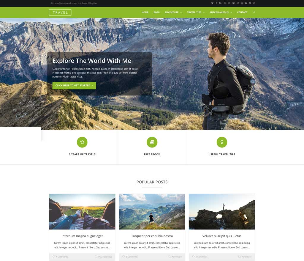Travel Blogging Theme- Travel by Ocean WP
