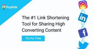poplink link shortening tool for social media sharing