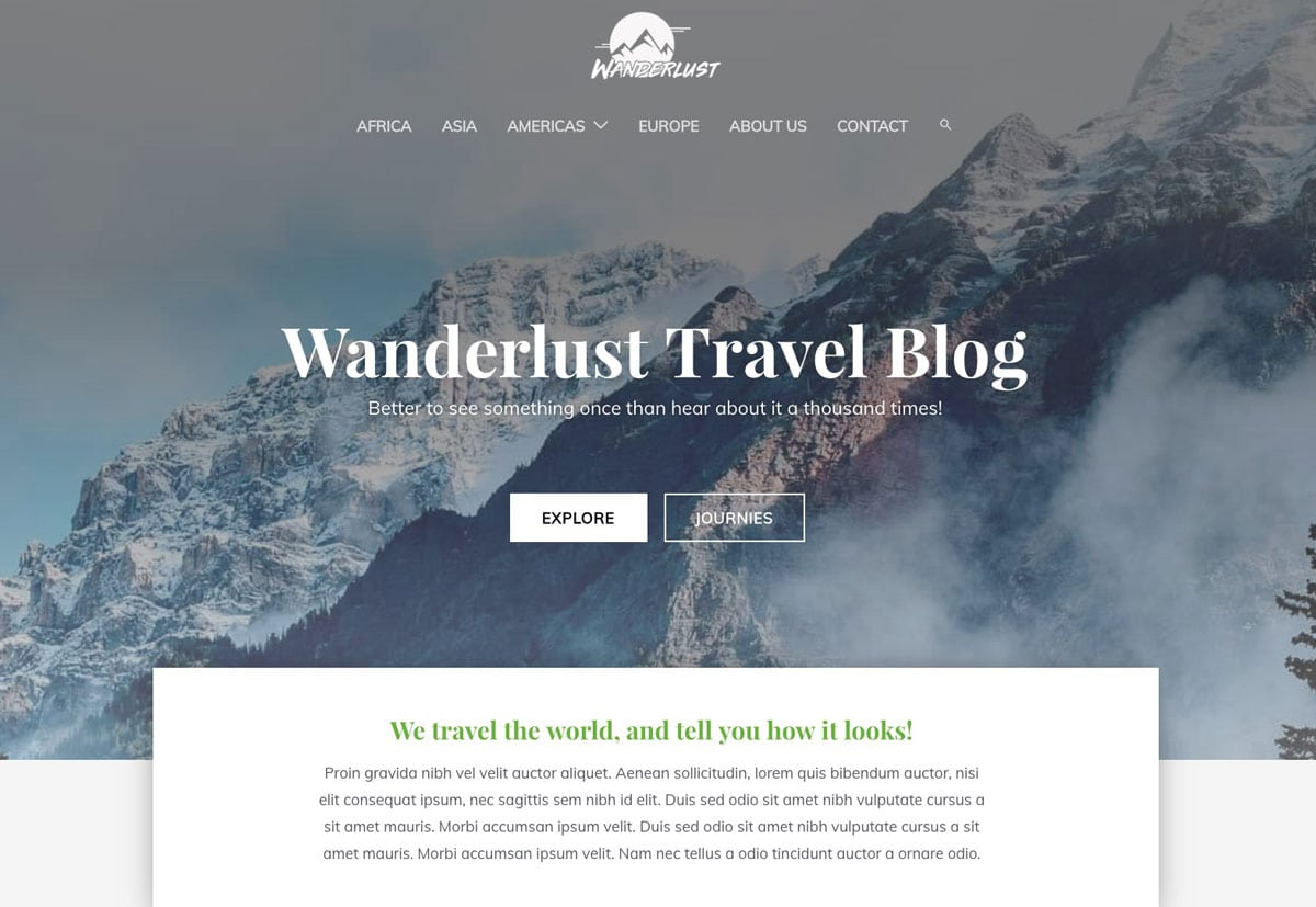 Wanderlust travel website example theme by Astra Themes