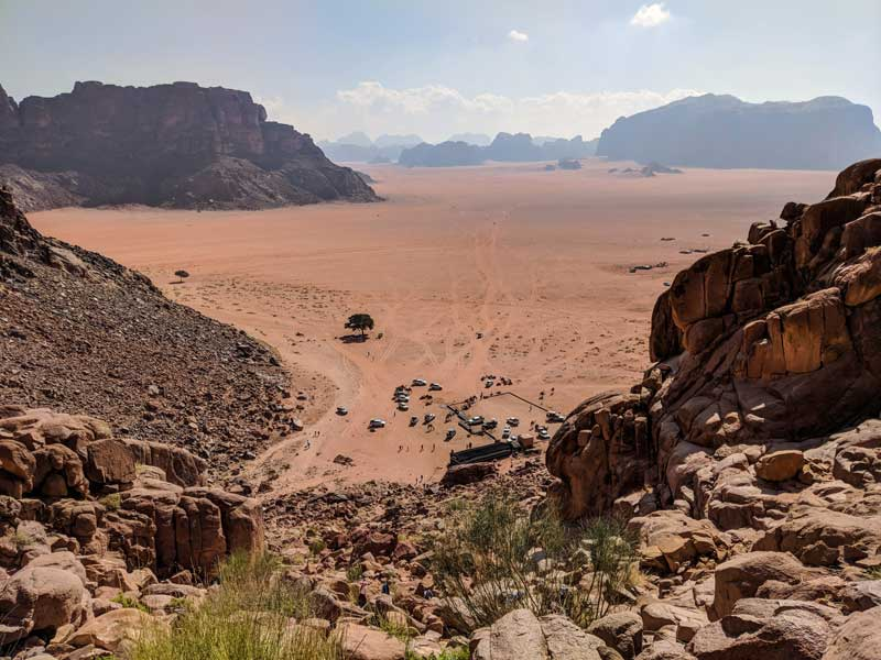 Climbing up to Lawrence Spring - Lawrence of Arabia's lookout in Wadi Rum, Jordan