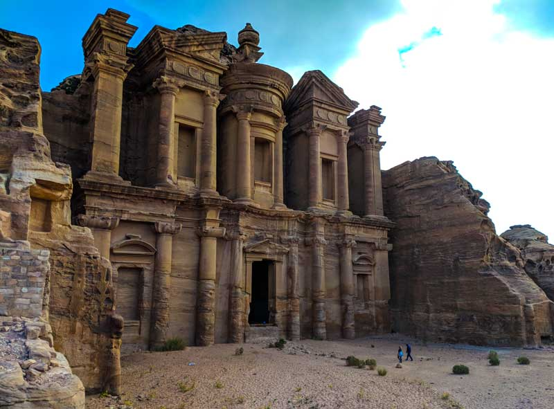 Petra monastery with people