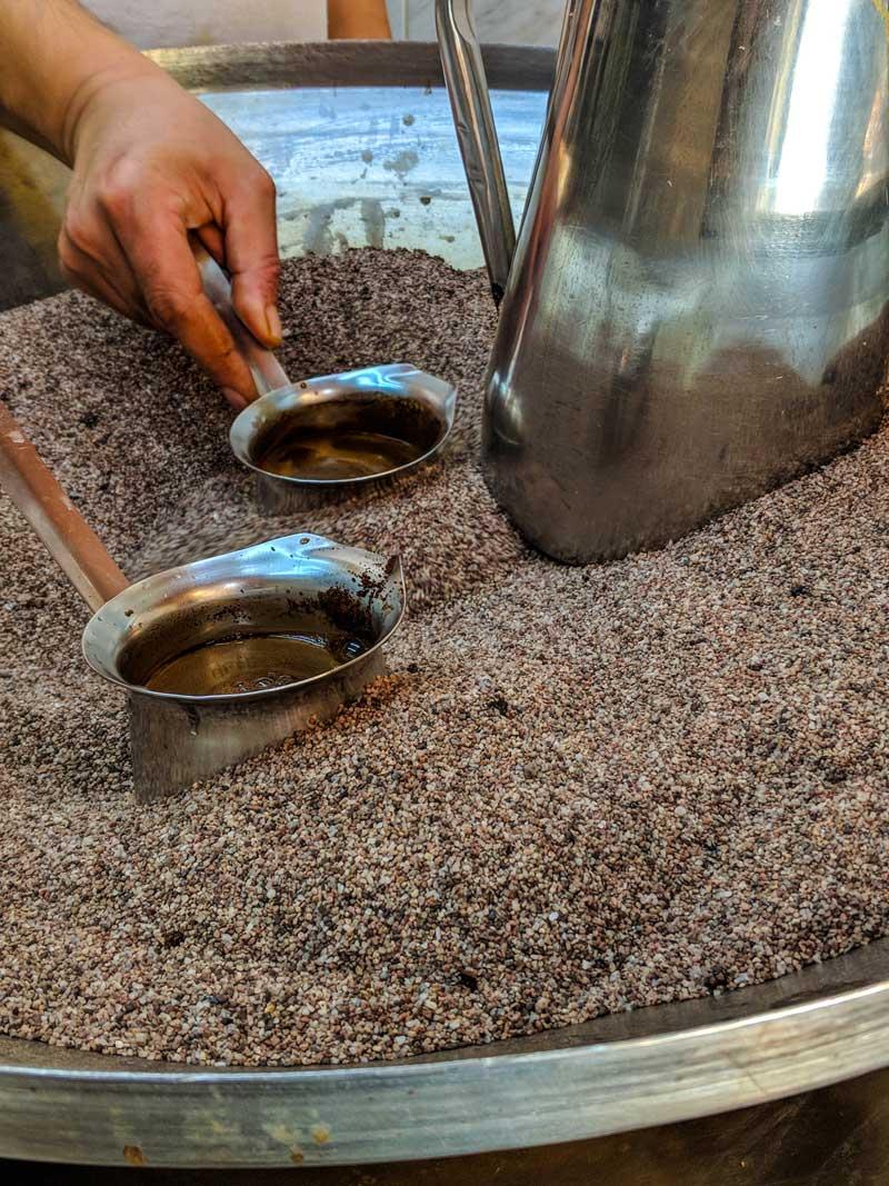 Turkish coffee brewing in Amman