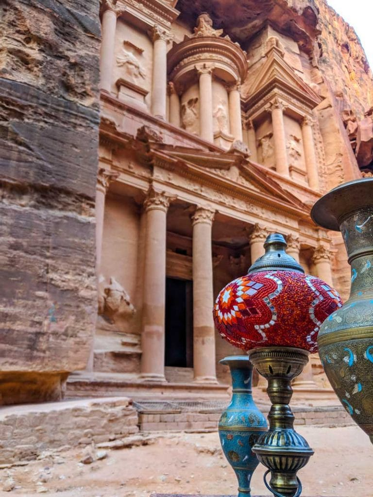 Vases in front of the treasury of Petra