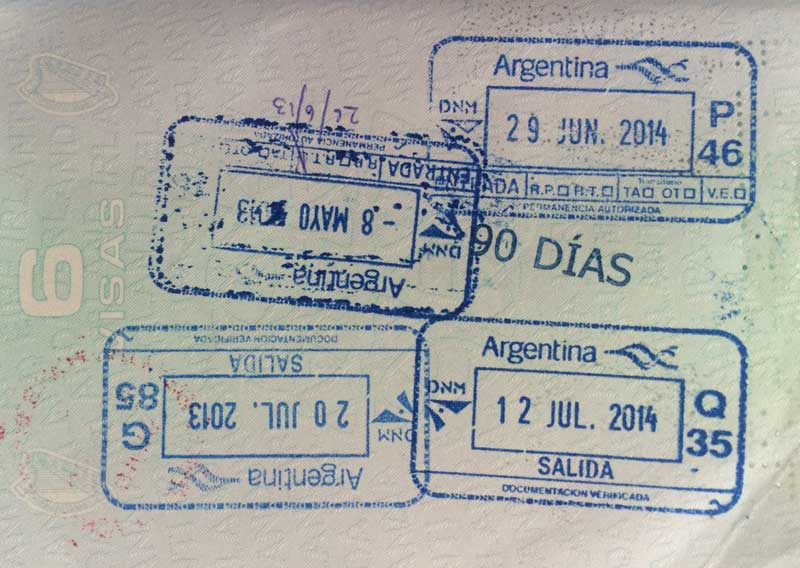 Irish Passport with Argentina entry stamps
