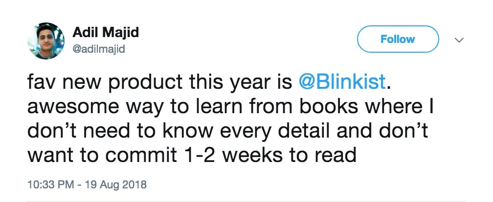 twitter comment about book summary apps