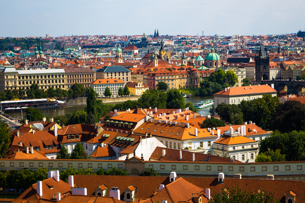 Prague rooftops view