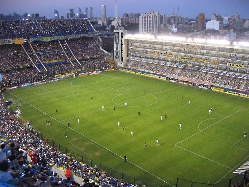 Boca Juniors football game at the La Bombonera stadium la Boca