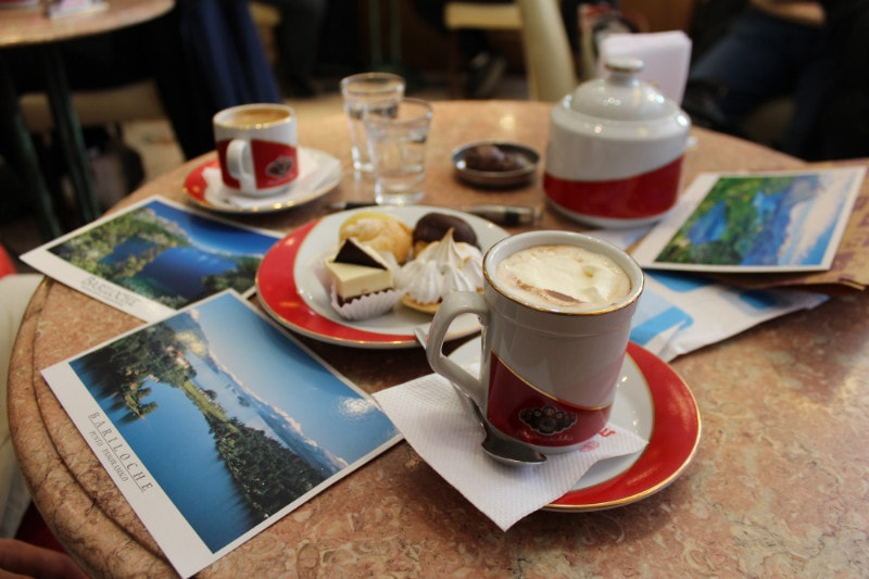 coffee and postcards in Bariloche cafe