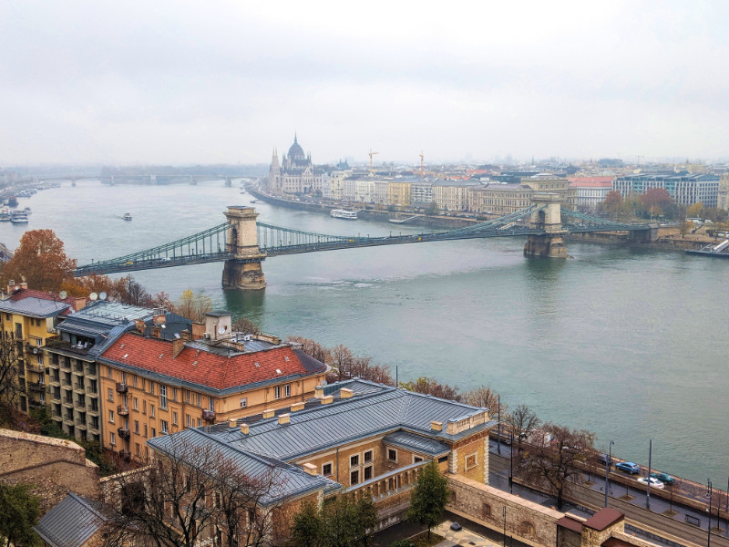 Budapest European digital nomad cities with Danube river and bridges