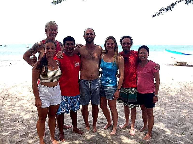 chapin with surf lessons students