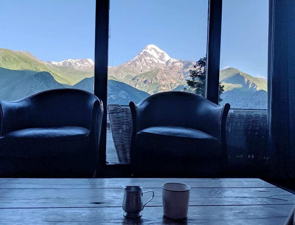 early moarning coffee at Rooms hotel Kazbegi with Mt Kazbek in the background