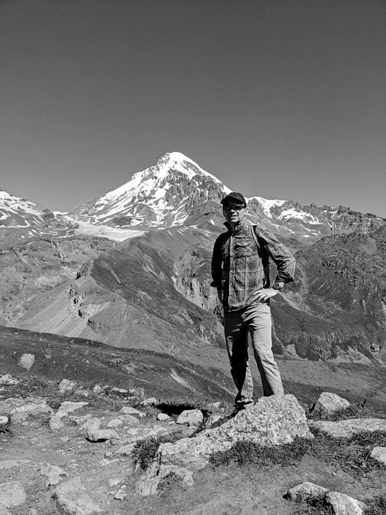 hiking in Kazbegi with Mt Kazbek in background