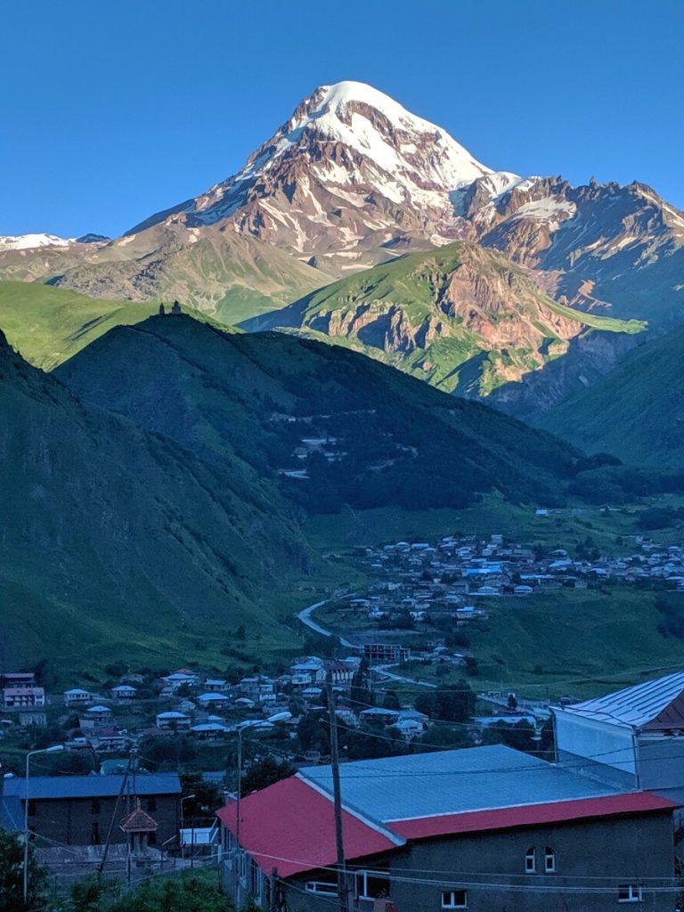 Mt Kazbek and the village of Stepantsminda