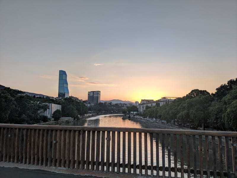 Tbilisi sunset at the river