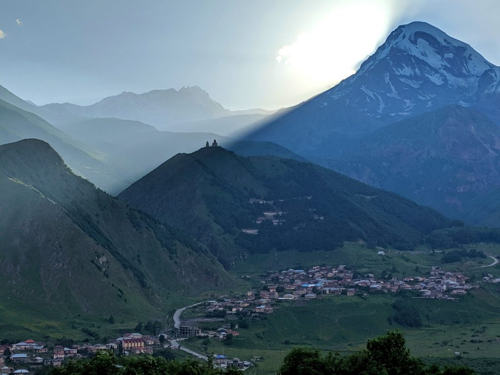 The view from Rooms Hotel Kazbegi