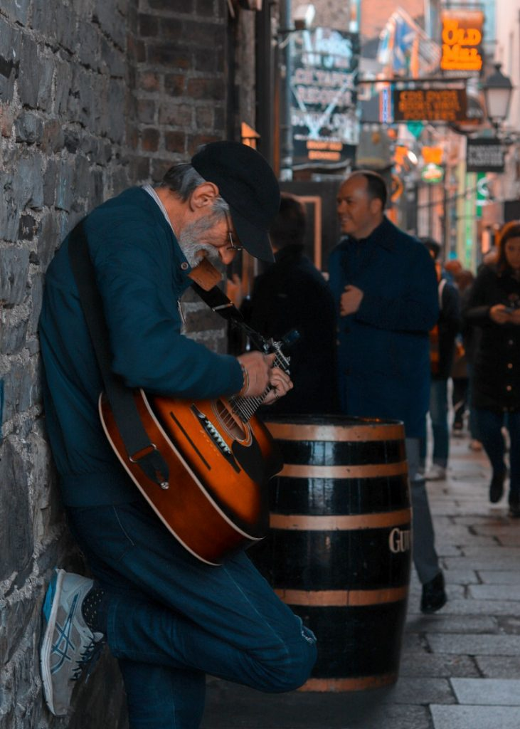 A busker in Merchant's Arch, Temple Bar Area