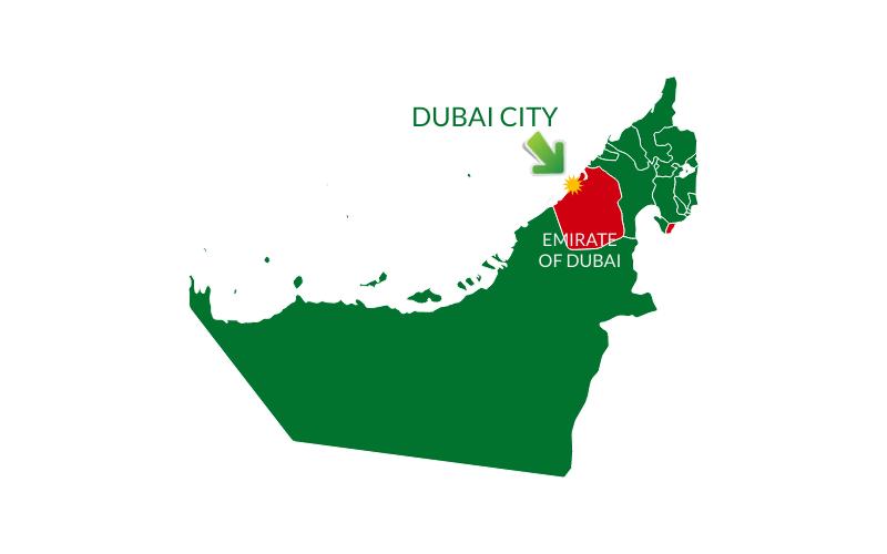 Map of Dubai State and Dubai City in the UAE