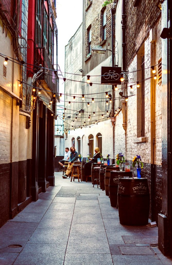 Narrow lane and pubs in Dublin
