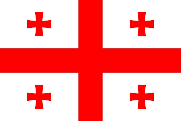Georgian flag with the 5 crosses