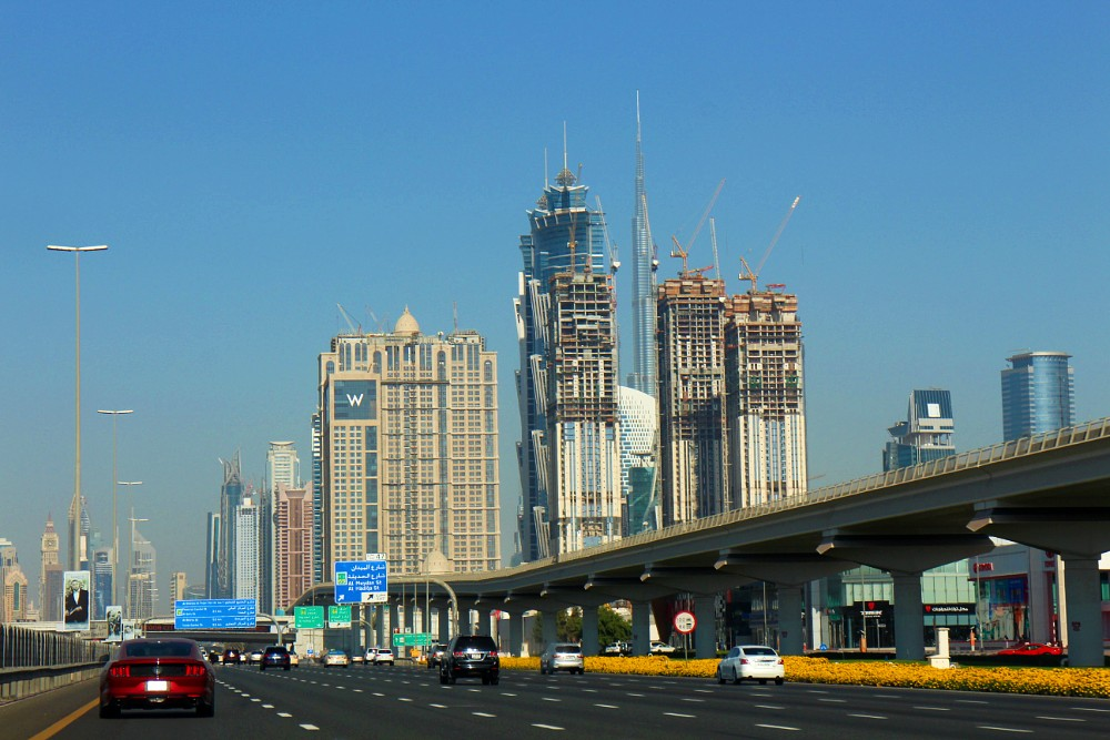 Highway and skyscrapers in Dubai