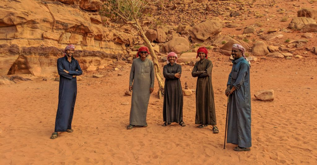 Bedouin tour guides in Wadi Rum near Khazali canyon
