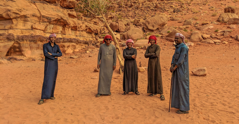 Bedouin tour guides in Wadi Rum near Khazali canyon