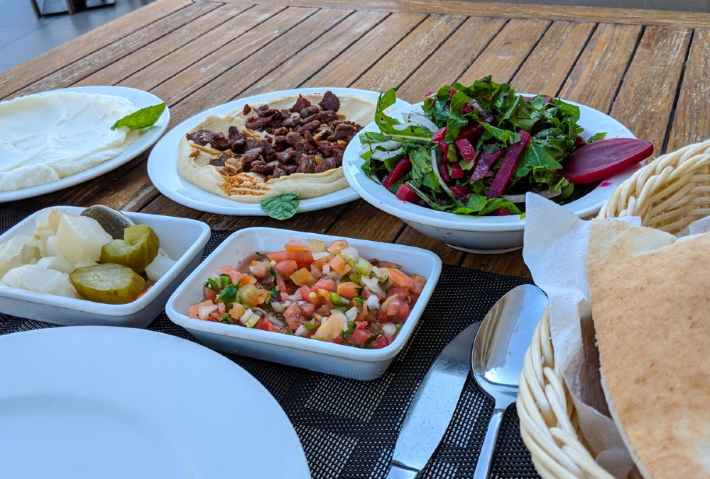 Jordanian Food: Lamb, Kebab, Hummus, Tomatoes, Beet, Bread