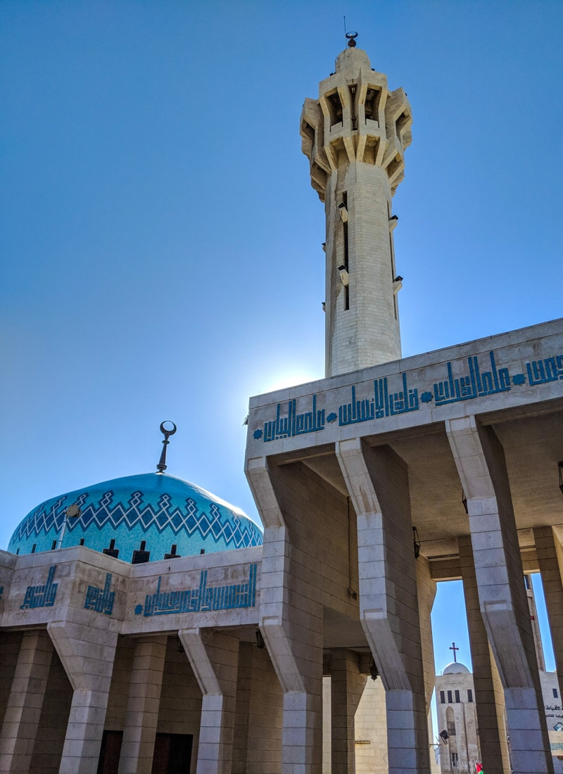 The King Hussein Blue Mosque of Amman with catholic church in ba